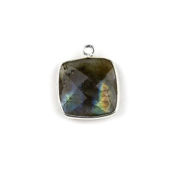 Labradorite 15X18mm Square Drop with a Silver Plated Brass Bezel - 1 per bag