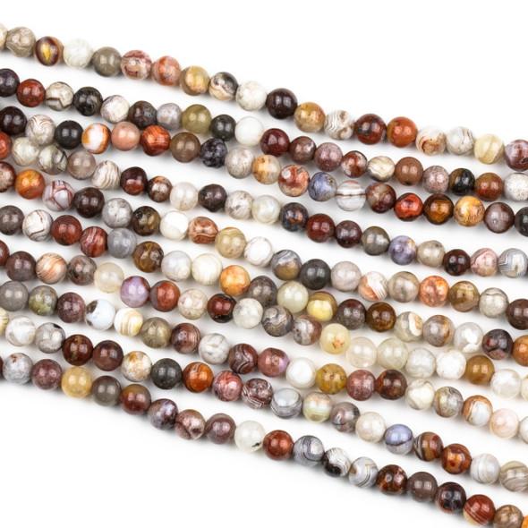 Laguna Lace Agate 4mm Round Beads - 15 inch strand
