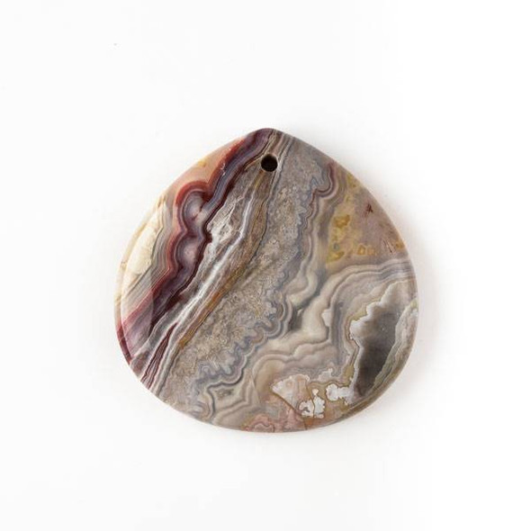 Mexican Laguna Lace Agate 40mm Top Front to Back Drilled Almond Pendant with a Flat Back - 1 per bag