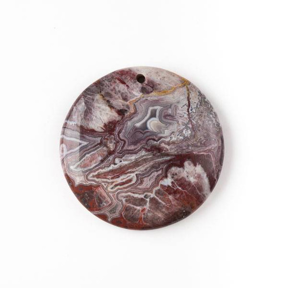 Mexican Laguna Lace Agate 40mm Top Front to Back Drilled Coin Pendant with a Flat Back - 1 per bag