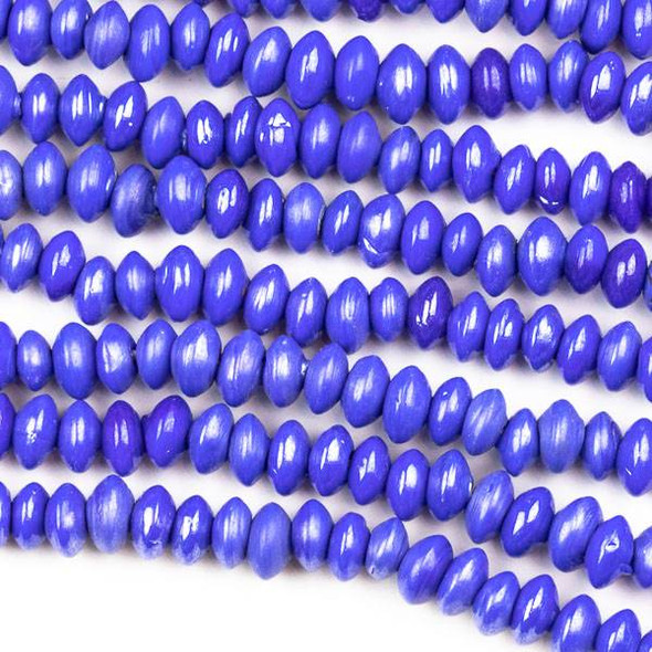 Handmade Indian Lampwork Glass 4x6mm Opaque Dark Blue Rondelle/Saucer Beads - approx. 8 inch strand