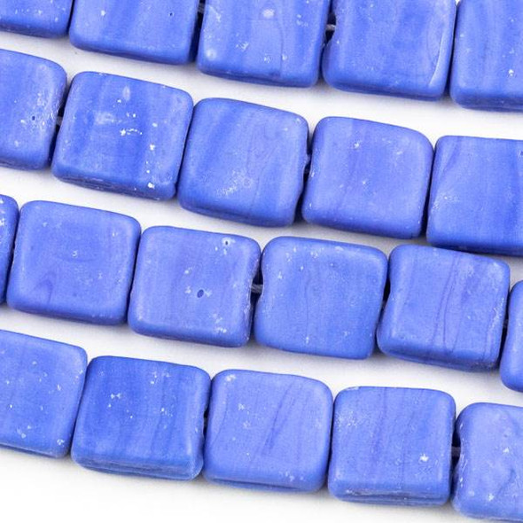 Handmade Indian Lampwork Glass 11x12mm Opaque Matte Blue Square Beads - approx. 8 inch strand