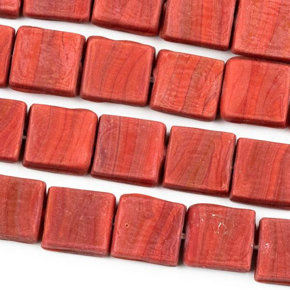 Handmade Indian Lampwork Glass 11x12mm Opaque Matte Red Square Beads - approx. 8 inch strand