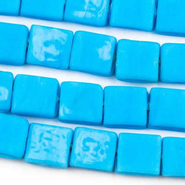Handmade Indian Lampwork Glass 11x12mm Opaque Matte Turquoise Blue Square Beads - approx. 8 inch strand