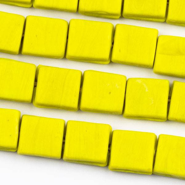 Handmade Indian Lampwork Glass 11x12mm Opaque Matte Yellow Square Beads - approx. 8 inch strand