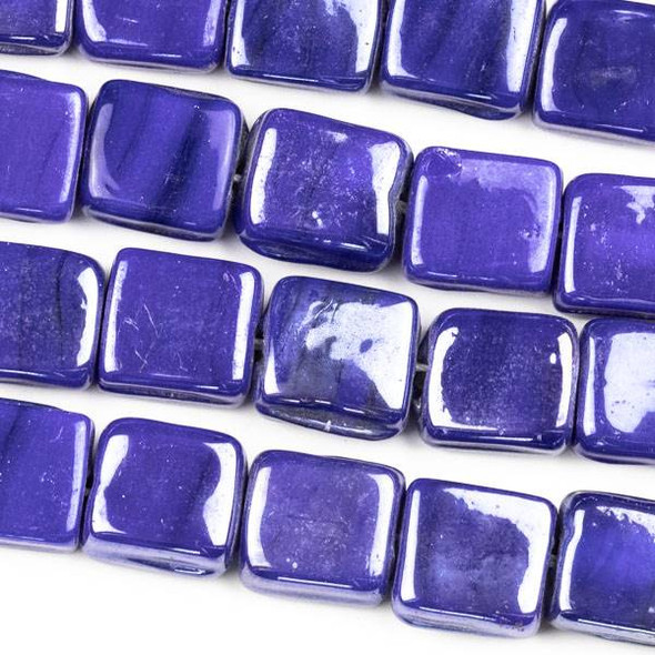 Handmade Indian Lampwork Glass 11x12mm Opaque Dark Blue Square Beads - approx. 8 inch strand