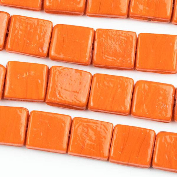 Handmade Indian Lampwork Glass 11x12mm Opaque Orange Square Beads - approx. 8 inch strand