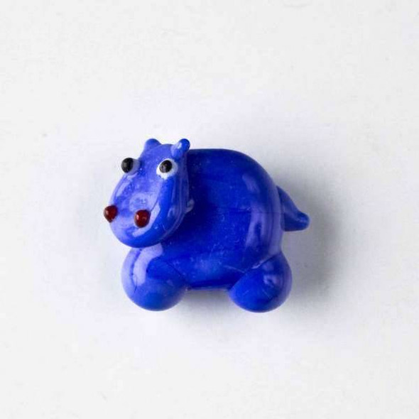 Lampwork Glass 20x23mm Blue Hippo