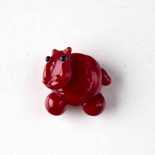 Lampwork Glass 20x23mm Red Hippo