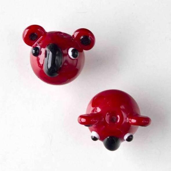 Lampwork Glass 17x22mm Red Koala Head