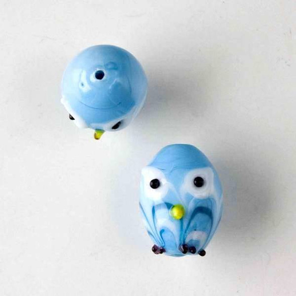 Lampwork Glass 14x18mm Baby Blue Egg Shaped Owl with Blue and White Waves and White Eyes