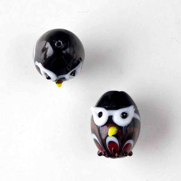 Lampwork Glass 14x18mm Black Egg Shaped Owl with Red and White Waves and White Eyes