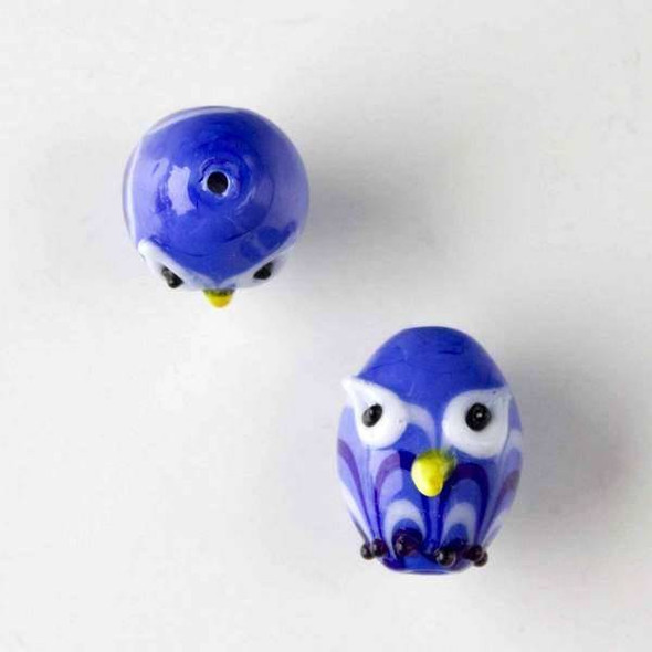 Lampwork Glass 14x18mm Blue Egg Shaped Owl with Blue and White Waves and White Eyes