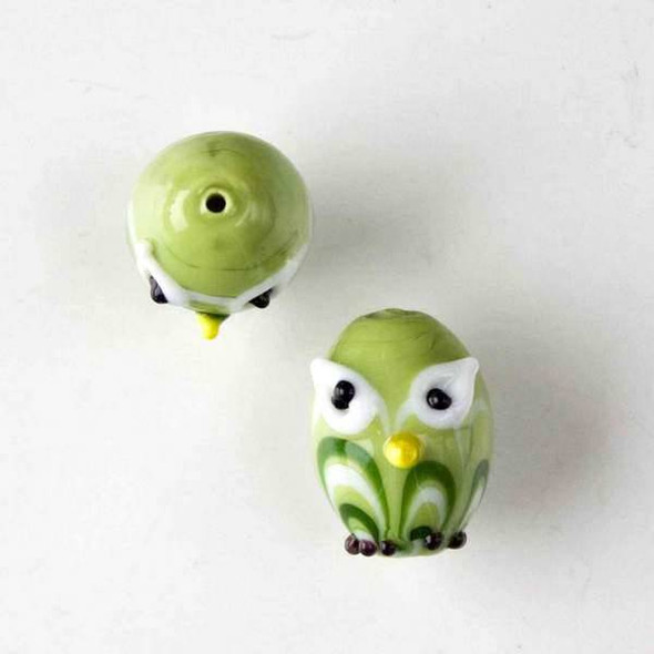 Lampwork Glass 14x18mm Light Green Egg Shaped Owl with Green and White Waves and White Eyes