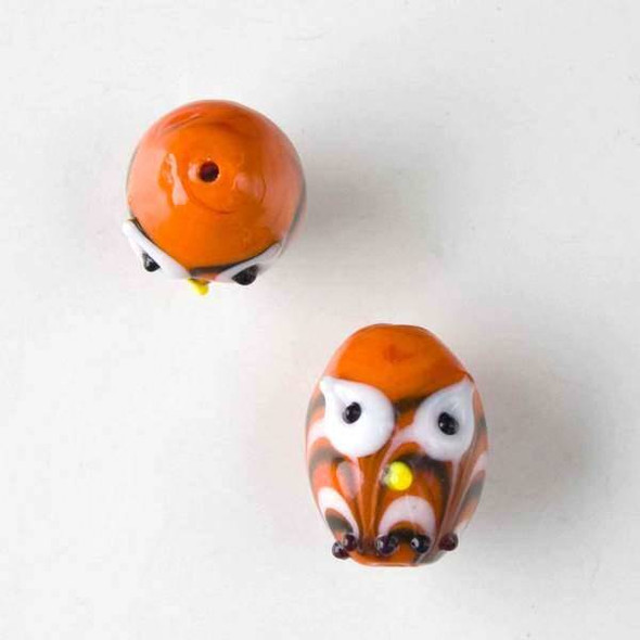 Lampwork Glass 14x18mm Orange Egg Shaped Owl with White and Black Waves and White Eyes