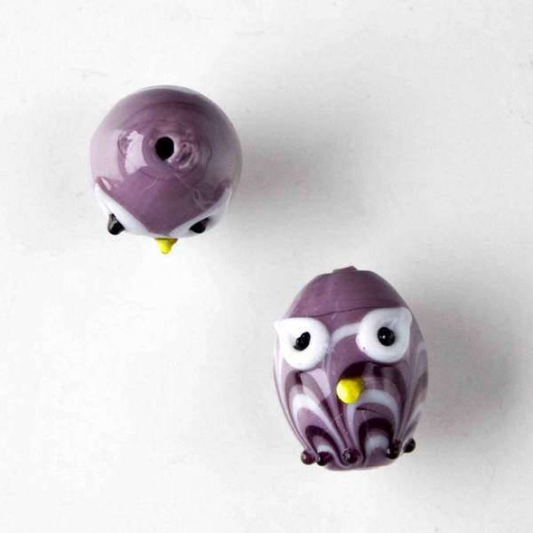 Lampwork Glass 14x18mm Purple Egg Shaped Owl with White and Purple Waves and White Eyes
