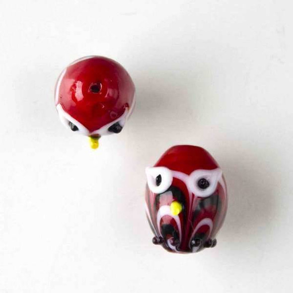 Lampwork Glass 14x18mm Red Egg Shaped Owl with White and Black Waves and White Eyes