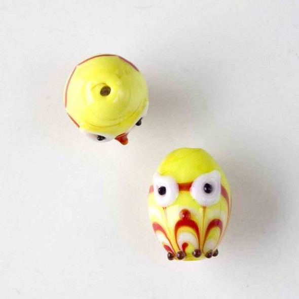 Lampwork Glass 14x18mm Yellow Egg Shaped Owl with Red and White Waves and White Eyes