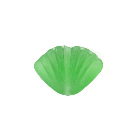 Handmade Lampwork Glass 20x27mm Matte Light Green Scallop Shell Bead - 1 per bag