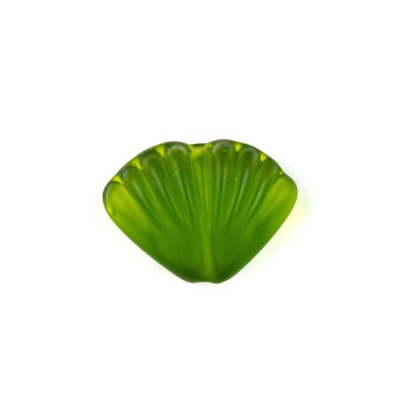 Handmade Lampwork Glass 20x27mm Matte Seaweed Green Scallop Shell Bead - 1 per bag