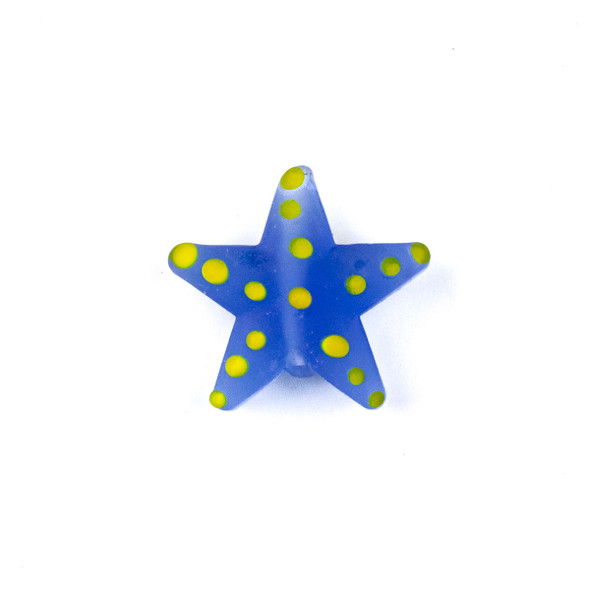 Handmade Lampwork Glass 23mm Matte Blue Starfish Bead with Yellow Dots - 1 per bag