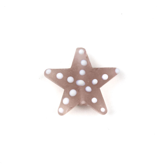 Handmade Lampwork Glass 23mm Matte Light Amethyst Starfish Bead with White Dots - 1 per bag