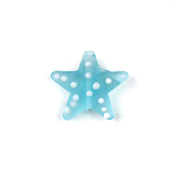 Handmade Lampwork Glass 23mm Matte Light Aqua Starfish Bead with White Dots - 1 per bag