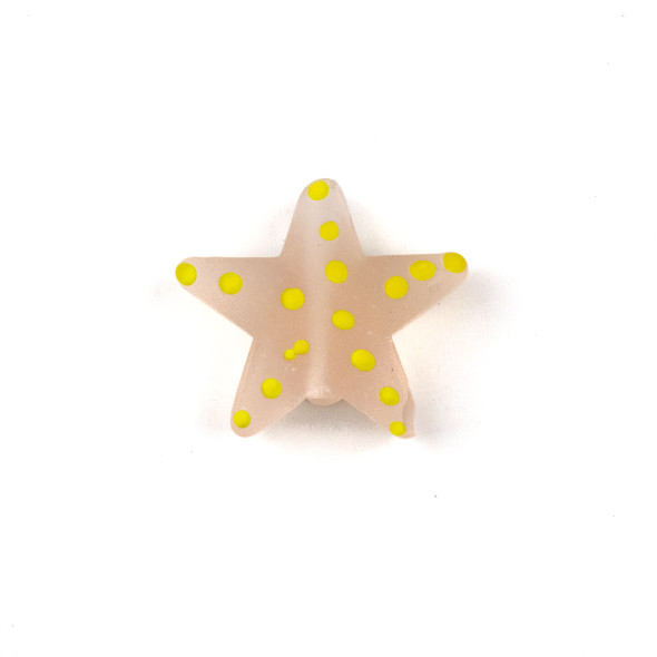 Handmade Lampwork Glass 23mm Matte Pink Starfish Bead with Yellow Dots - 1 per bag