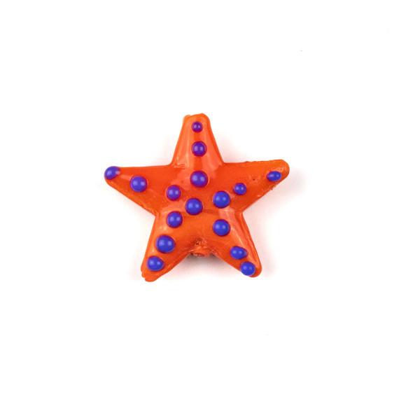 Handmade Lampwork Glass 23mm Reddish Orange Starfish Bead with Blue Dots - 1 per bag