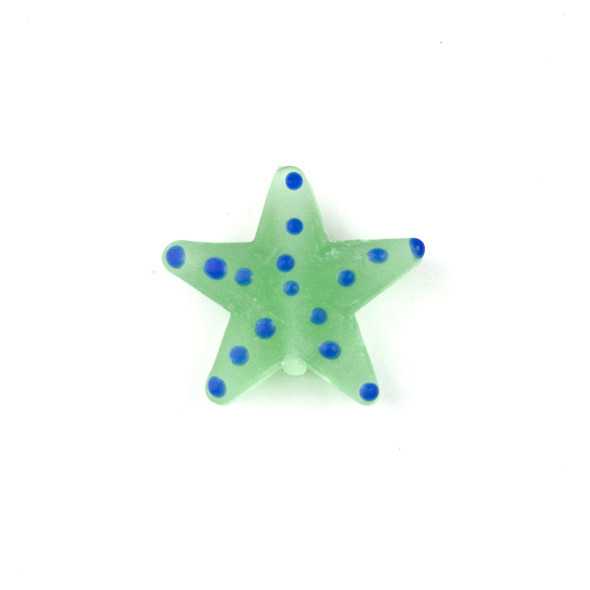 Handmade Lampwork Glass 23mm Matte Seafoam Green Starfish Bead with Blue Dots - 1 per bag