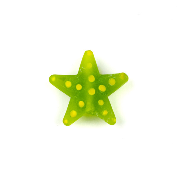 Handmade Lampwork Glass 23mm Matte Seweed Green Starfish Bead with Yellow Dots - 1 per bag