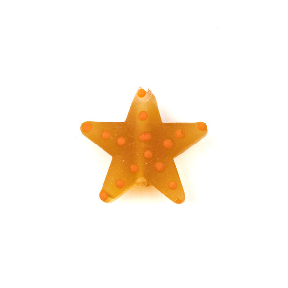 Handmade Lampwork Glass 23mm Matte Topaz Starfish Bead with Orange Dots - 1 per bag