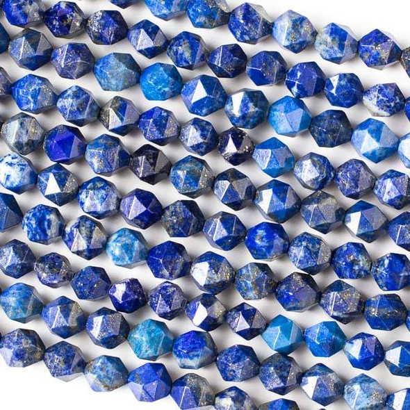 Lapis 8mm Simple Faceted Star Cut Beads - 16 inch strand