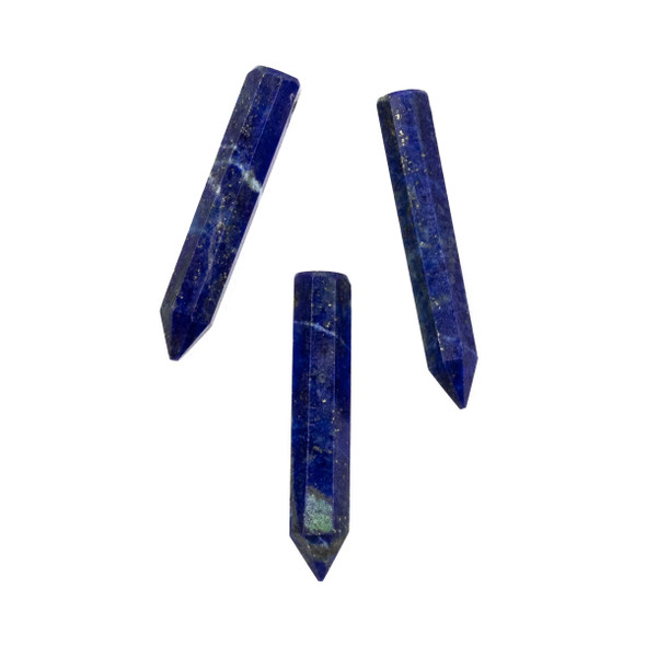 Lapis approximately 6x26-34mm 8-Sided Petite Point Pendant - 1 per bag