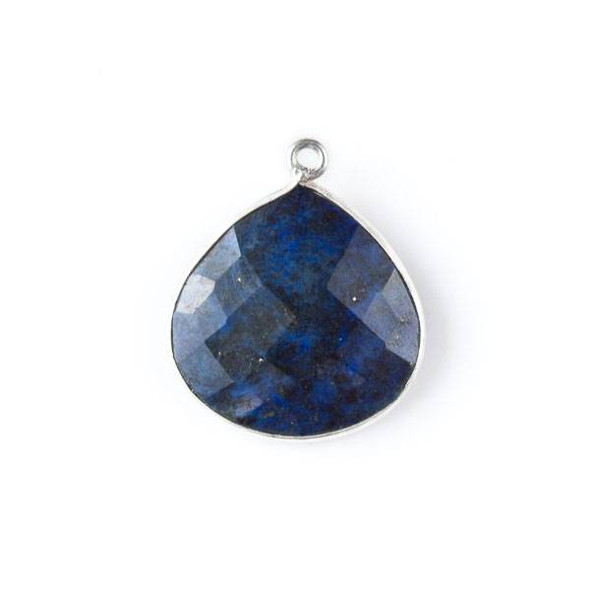 Lapis approximately 22x25mm Faceted Almond Teardrop Drop with a Silver Plated Brass Bezel