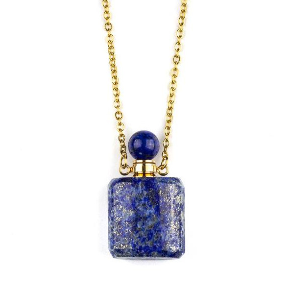 Lapis 19x34mm Rounded Square Perfume Bottle Necklace with Gold Plated Stainless Steel Chain