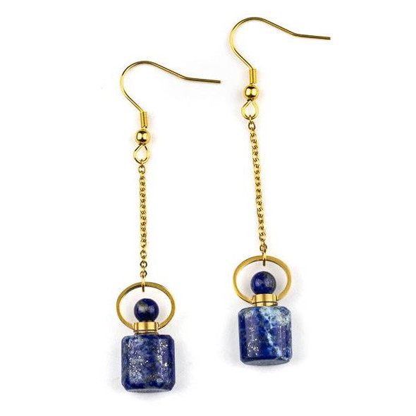 Lapis 11x19mm Rounded Square Perfume Bottle Earrings with Gold Plated Stainless Steel - 1 pair