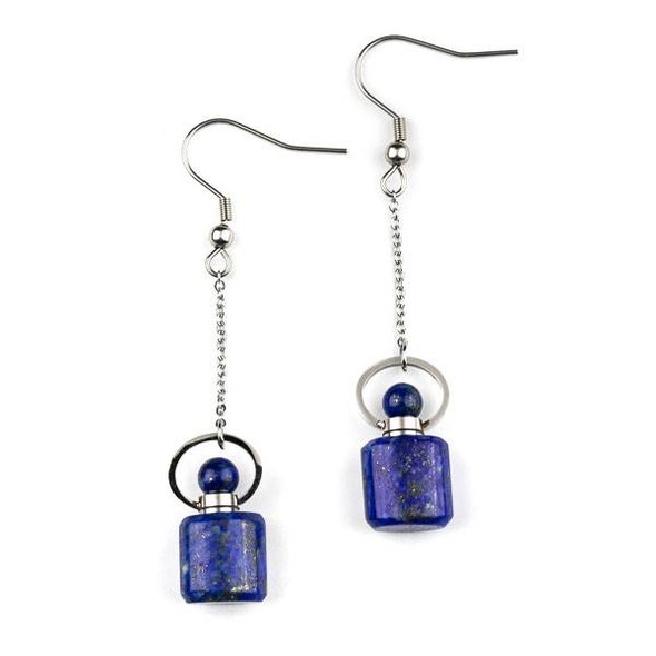 Lapis 11x19mm Rounded Square Perfume Bottle Earrings with Silver Stainless Steel - 1 pair