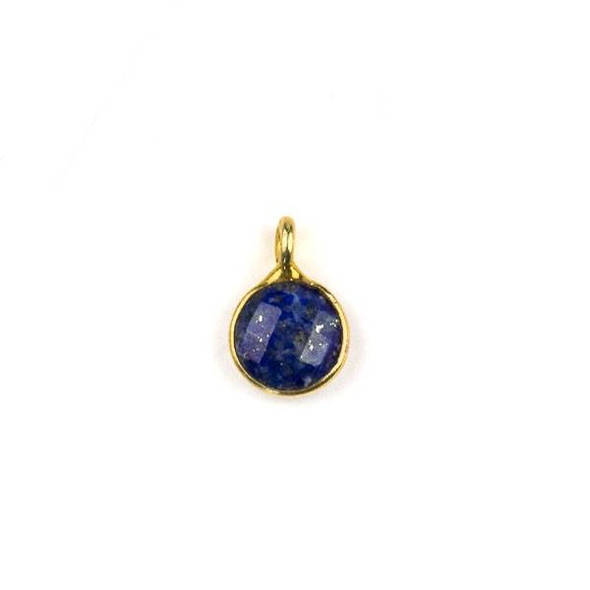 Lapis 7x10mm Coin Drop with a Gold Plated Brass Bezel - 1 per bag