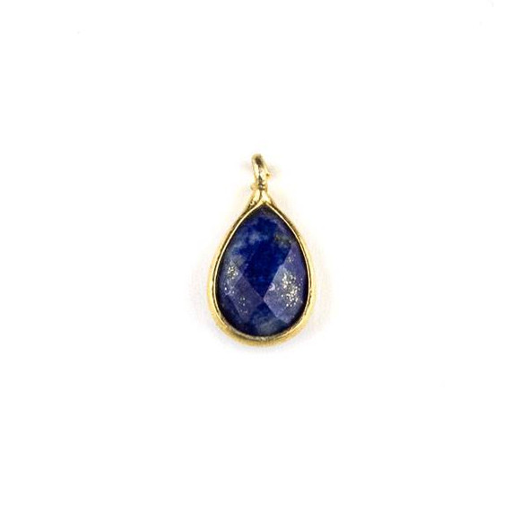 Lapis approximately 8x14mm Faceted Teardrop Drop with a Gold Plated Brass Bezel - 1 per bag