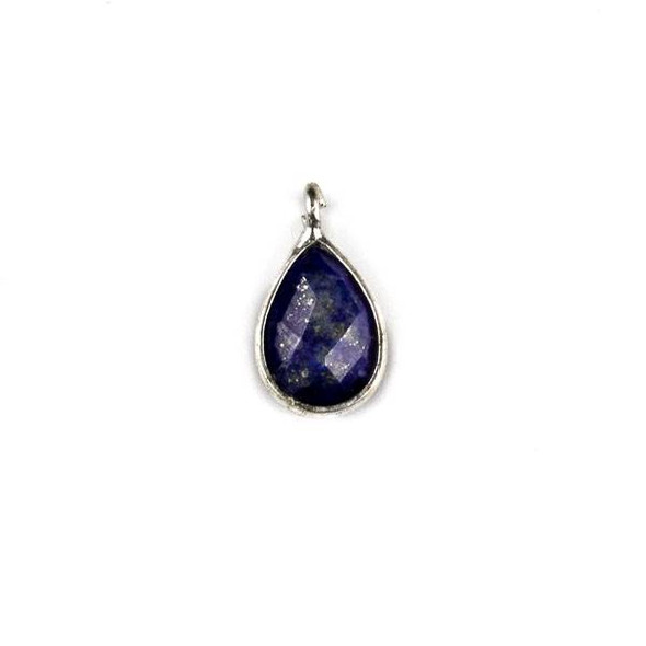 Lapis approximately 8x14mm Faceted Teardrop Drop with a Silver Plated Brass Bezel - 1 per bag