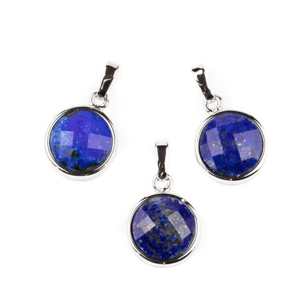 Lapis 12mm Faceted Coin Pendant with Silver Plated Bezel and Bail -  1 per bag