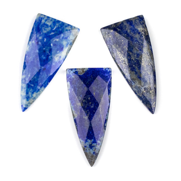 Lapis 25x55mm Faceted Top Drilled Shield Pendant - 1 per bag