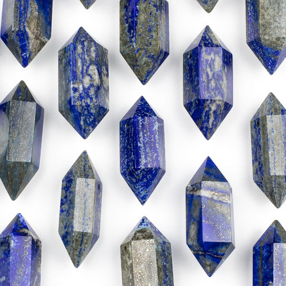 Lapis 27x70mm Extra Large Hexagonal Double Point Pendant - 1 per bag