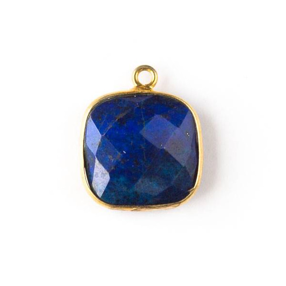 Lapis 15x18mm Square Drop with Gold Plated Brass Bezel