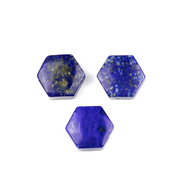 Lapis 16x18mm Top Drilled Hexagon Pendant - 1 per bag