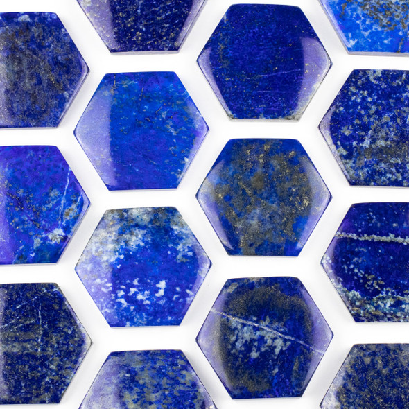 Lapis 40x45mm Top Drilled Hexagon Pendant - 1 per bag