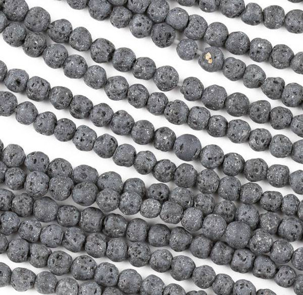Unwaxed Lava 4mm Black Round Beads - 15.5 inch strand