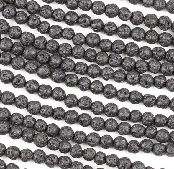 Waxed Lava 4mm Black Round Beads - 15.5 inch strand