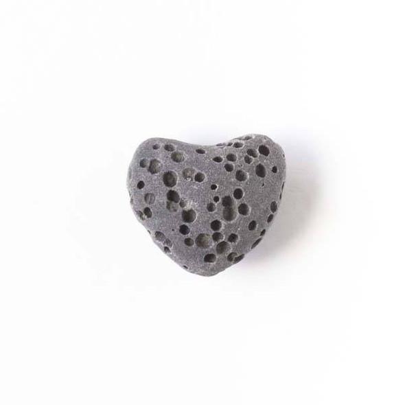 Lava Rock 10x12mm Dark Grey Heart Essential Oil Diffusers - 3 per bag